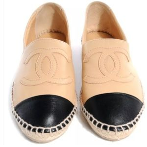 CHANEL Beige/black Lambskin Leather Espadrilles
